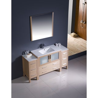 Fresca Torino 60-inch Light Oak Modern Bathroom Vanity with 2 Side Cabinets and Undermount Sink