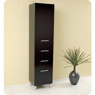 Fresca Espresso Bathroom Linen Side Cabinet with three pull out drawers