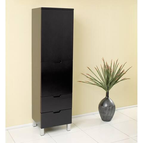 Fresca Espresso Bathroom Linen Side Cabinet with 4 Storage Areas