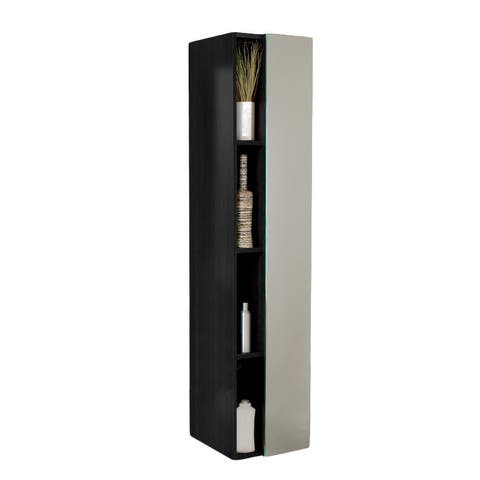 Fresca Black Bathroom Linen Side Cabinet with 4 Cubby Holes and Mirror