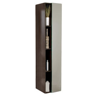 Fresca Grey Oak Bathroom Linen Side Cabinet with 4 Cubby Holes and Mirror