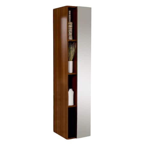Fresca Teak Bathroom Linen Side Cabinet with 4 Cubby Holes and Mirror