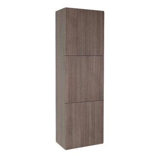 Fresca Grey Oak Bathroom Linen Side Cabinet with 3 Large Storage Areas
