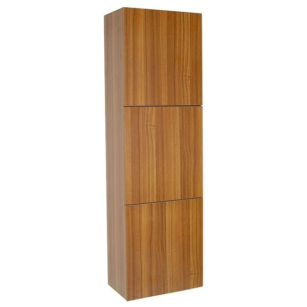 Fresca Teak Bathroom Linen Side Cabinet with 3 Large Storage Areas