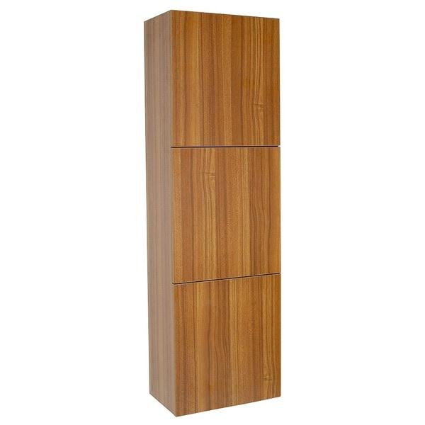 Shop Fresca Teak Bathroom Linen Side Cabinet With 3 Large
