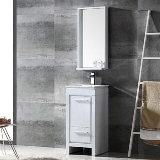 Fresca Allier 16-inch White Modern Bathroom Vanity with Mirror