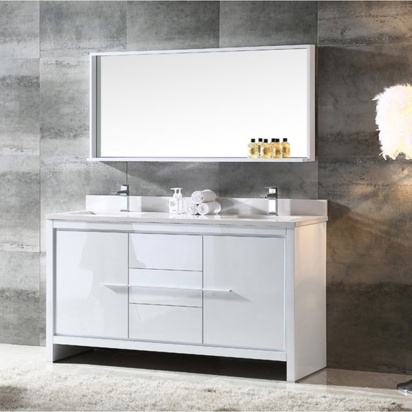 Fresca Allier 60 Inch White Modern Double Sink Bathroom Vanity With Mirror