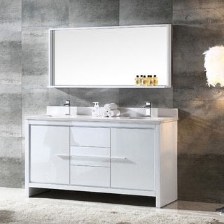 Fresca Allier 60 Inch White Modern Double Sink Bathroom Vanity With Mirror