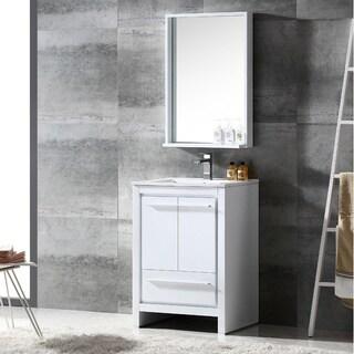 Fresca Allier 24-inch White Modern Bathroom Vanity with Mirror