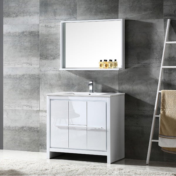 Shop Fresca Allier 36 Inch White Modern Bathroom Vanity With Mirror