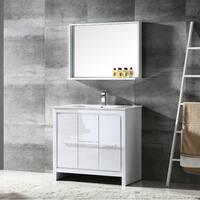 Fresca Allier 36-inch White Modern Bathroom Vanity with Mirror