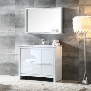 Fresca Allier 40-inch White Modern Bathroom Vanity with Mirror