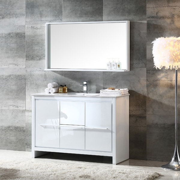 Shop fresca allier 48 inch white modern bathroom vanity for 48 inch mirrored bathroom vanity