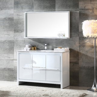 Fresca Allier 48-inch White Modern Bathroom Vanity with Mirror