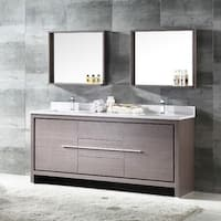 Fresca Allier 72-inch Grey Oak Modern Double Sink Bathroom Vanity with Mirror