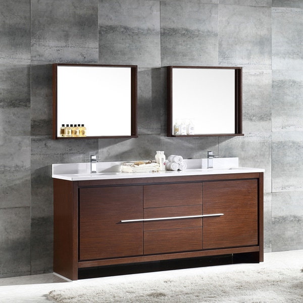 Fresca Allier 72 Inch Wenge Brown Modern Double Sink Bathroom Vanity With  Mirror
