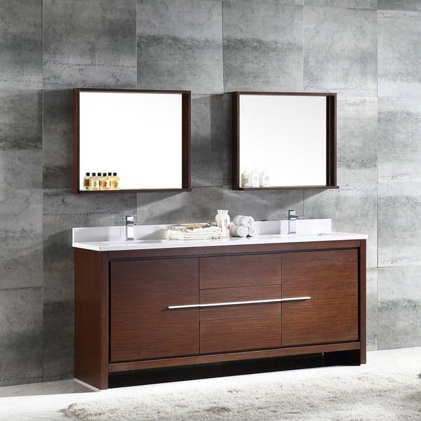 Fresca Allier 72 Inch Wenge Brown Modern Double Sink Bathroom Vanity With Mirror Overstock 10167420