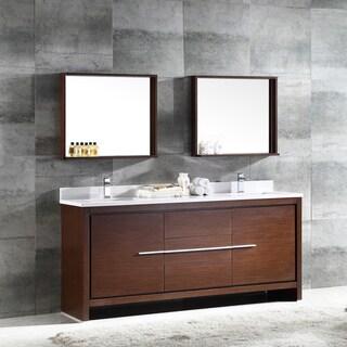 Fresca Allier 72-inch Wenge Brown Modern Double Sink Bathroom Vanity with Mirror