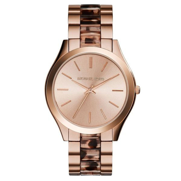 a25437f02a45 Shop Michael Kors Women s Slim Runway Round Rose Gold-tone with  Tortoise-shell Bracelet Watch - Free Shipping Today - Overstock - 10167454