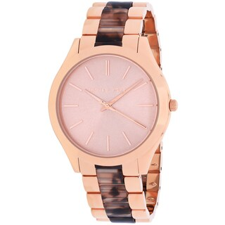 Michael Kors Women's Slim Runway Round Rose Gold-tone with Tortoise-shell Bracelet Watch