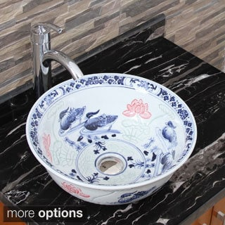 Elimax's 2023+882002 Lovebirds Blue and White Porcelain Ceramic Bathroom Vessel Sink with Faucet Combo
