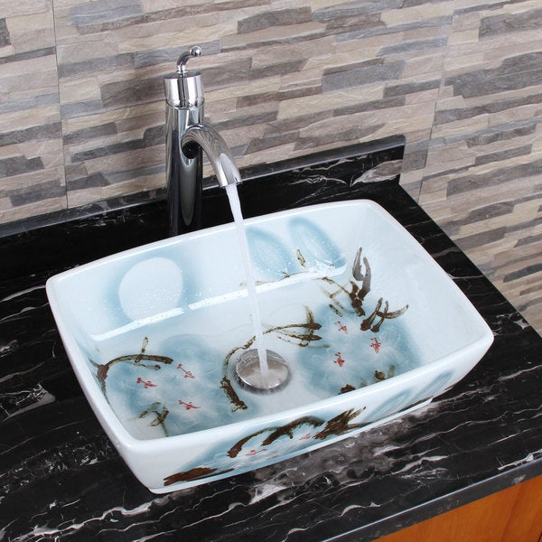 Elimax 39 s 2033 882002 square oriental art style porcelain for Are vessel sinks out of style