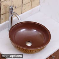 Elimax's 2020+882002 Petal Pattern Porcelain Ceramic Bathroom Vessel Sink with Faucet Combo