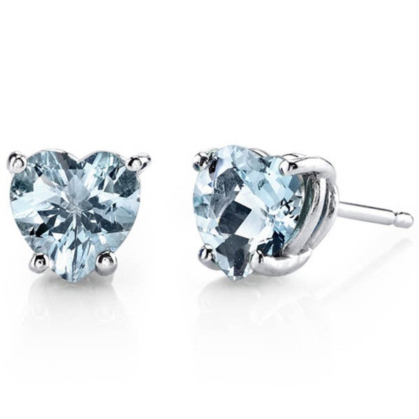 Oravo 14k White Gold Heart-cut Gemstone Stud Earrings