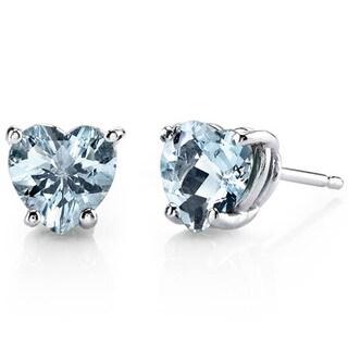 Oravo 14k White Gold Heart-cut Gemstone Stud Earrings (Option: Peridot)