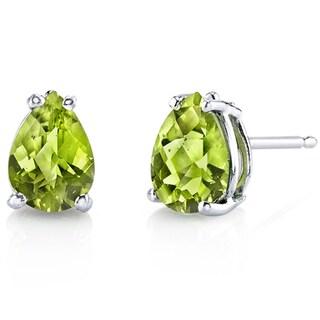 Oravo 14 Karat White Gold Pear Shape Gemstone Stud Earrings (More options available)