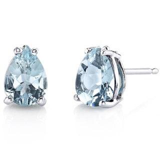 Oravo 14 Karat White Gold Pear Shape Gemstone Stud Earrings