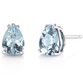Oravo 14 Karat White Gold Pear Shape Gemstone Stud Earrings