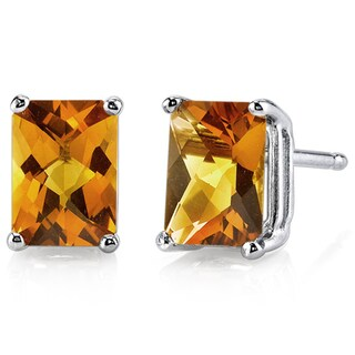 Oravo 14k White Gold Radiant-cut Gemstone Stud Earrings (More options available)