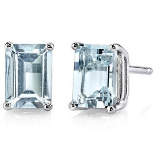 Oravo 14k White Gold Radiant-cut Gemstone Stud Earrings|https://ak1.ostkcdn.com/images/products/10167539/P17295628.jpg?impolicy=medium