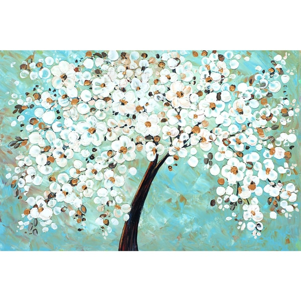 Portfolio Canvas Decor Jolina Anthony 'White Cherry Blossom' Framed Canvas Wall Art