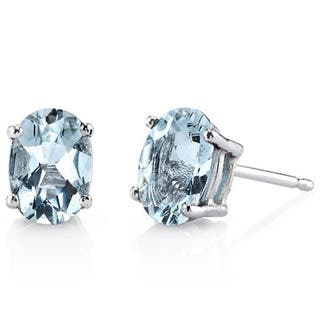 Oravo 14k White Gold Oval-cut Gemstone Stud Earrings|https://ak1.ostkcdn.com/images/products/10167571/P17295666.jpg?impolicy=medium