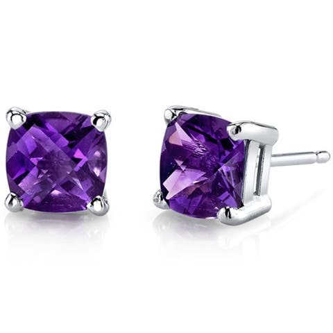 Oravo 14k White Gold Cushion-cut Gemstone Stud Earrings