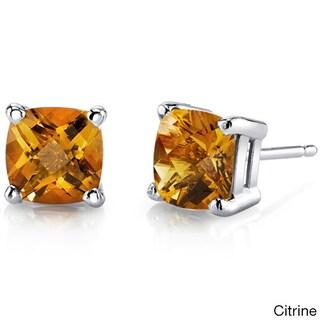 Oravo 14k White Gold Cushion-cut Gemstone Stud Earrings