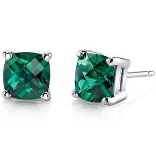 Oravo 14k White Gold Cushion-cut Birthstone Gem Stud Earrings