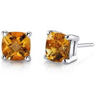 Oravo 14k White Gold Cushion-cut Birthstone Gem Stud Earrings