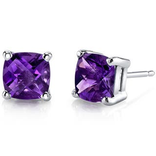 Oravo 14k White Gold Cushion-cut Gemstone Stud Earrings|https://ak1.ostkcdn.com/images/products/10167574/P17295665.jpg?impolicy=medium