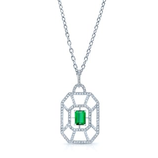 Estie G 18k White Gold 3/4ct TDW Diamond and Green Tourmaline Geometric Necklace (H-I, VS1-VS2)