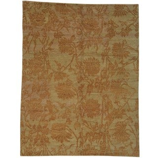 Hand-knotted Wool Oriental Beige Rectangle Rug (8'10 x 11'7)