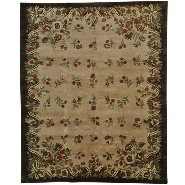 Hand-knotted Wool Oriental Beige Rectangle Rug (8'2 x 10'1)