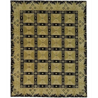 Hand-knotted Wool Oriental Black Rectangle Rug (8'1 x 10'4)