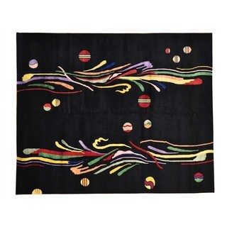 Hand-knotted Wool Oriental Black Rectangle Rug (8'2 x 10')