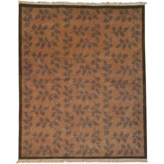 Hand-knotted Wool Oriental Brown Rectangle Rug (8'2 x 10')