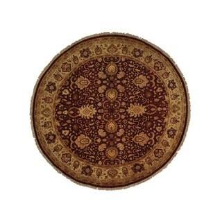Hand-knotted Wool Oriental Burgundy Round Rug (9'6 x 9'6)
