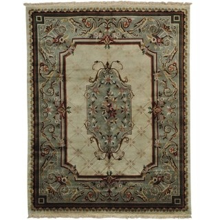 Hand-knotted Wool Oriental Ivory Rectangle Rug (8' x 10')
