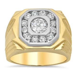 14k Two-tone Gold Men's 2 1/4ct Certified Diamond Ring (E-F, VS1-VS2)